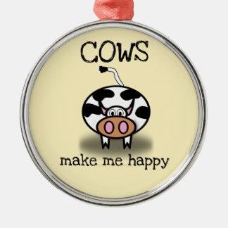 Ornement Rond Argenté Les vaches me rendent heureux