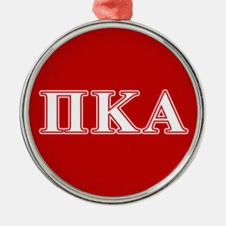 Ornement Rond Argenté Lettres blanches de kappa de pi alpha et rouges