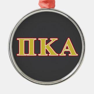 Ornement Rond Argenté Lettres de rouge et d'or de Kappa de pi alpha
