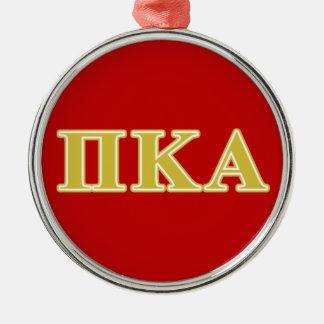 Ornement Rond Argenté Lettres d'or de Kappa de pi alpha