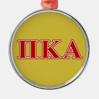 Ornement Rond Argenté Lettres rouges de Kappa de pi alpha