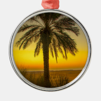 Ornement Rond Argenté Lever de soleil de palmier