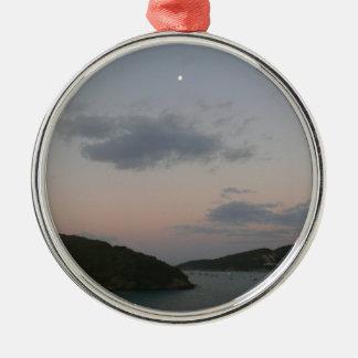 Ornement Rond Argenté Lever de soleil en Îles Vierges américaines de St
