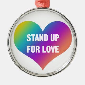 Ornement Rond Argenté Levez-vous pour l'amour (le coeur d'arc-en-ciel)