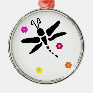 Ornement Rond Argenté libellule et fleurs