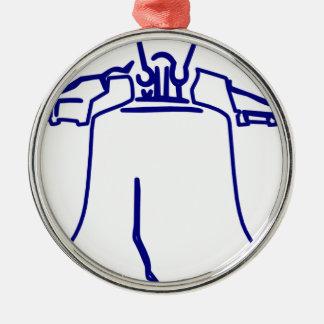 Ornement Rond Argenté Liberty Bell bleu