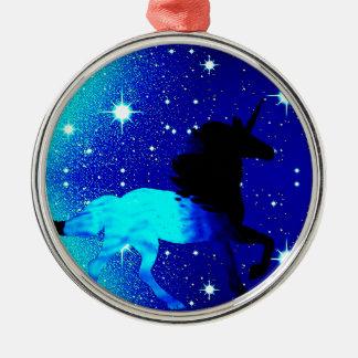 Ornement Rond Argenté Licorne bleue