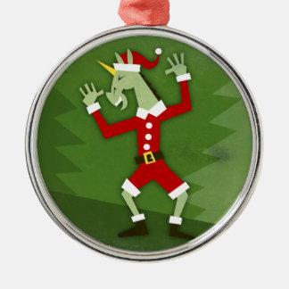 Ornement Rond Argenté Licorne de Père Noël dans la Chambre