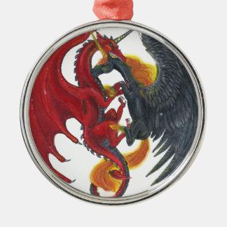 Ornement Rond Argenté Licorne noire du feu et dragon rouge