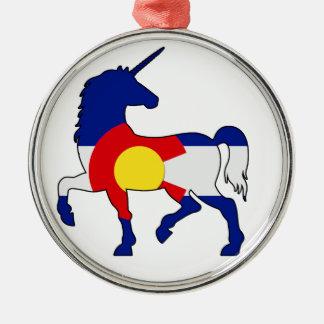 Ornement Rond Argenté Licornes et Colorado !