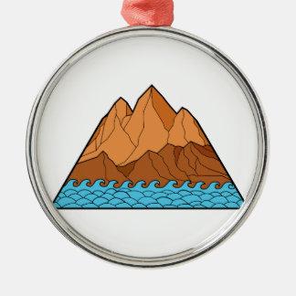 Ornement Rond Argenté Ligne mono en lambeaux de vagues de montagne