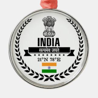 Ornement Rond Argenté L'Inde