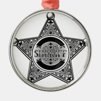 Ornement Rond Argenté L'insigne d'étoile de shérif a gravé à l'eau-forte