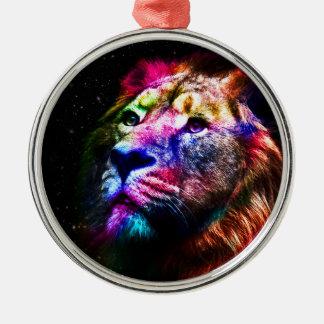 Ornement Rond Argenté Lion de l'espace - lion coloré - art de lion -