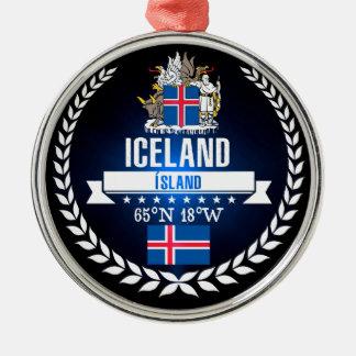 Ornement Rond Argenté L'Islande