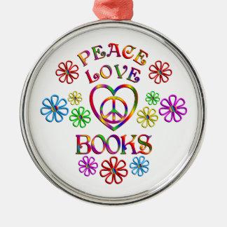Ornement Rond Argenté Livres d'amour de paix