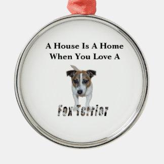 Ornement Rond Argenté Logo d'amour de Fox Terrier et de Fox Terrier,