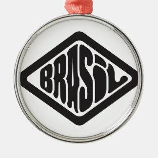 Ornement Rond Argenté logo du Brésil de forme de diamant rétro