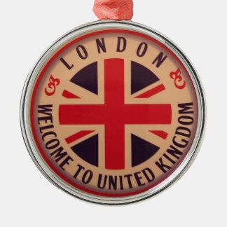 Ornement Rond Argenté Londres - Union Jack - accueil vers le Royaume-Uni