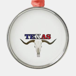 Ornement Rond Argenté longhorn mort du Texas