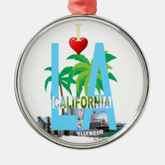 Ornement Rond Argenté Los Angeles l une ville Etats-Unis Amérique de la