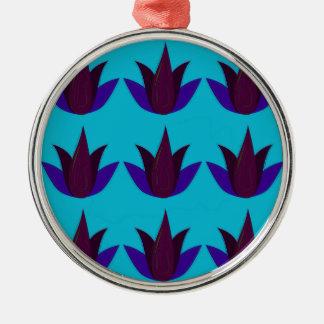 Ornement Rond Argenté Lotus bleus