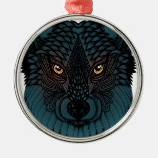 Ornement Rond Argenté Loup avec les yeux rougeoyants