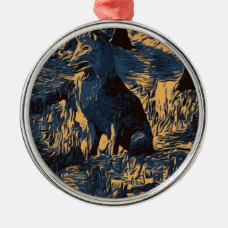 Ornement Rond Argenté loup dans les bois