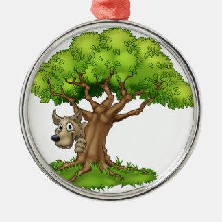 Ornement Rond Argenté Loup et arbre de conte de fées de bande dessinée