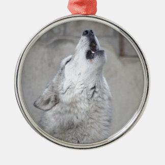 Ornement Rond Argenté Loup gris d'hurlement