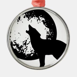 Ornement Rond Argenté Loup hurlant à la lune