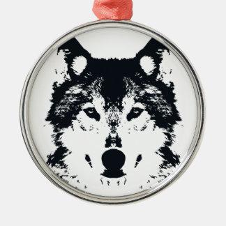 Ornement Rond Argenté Loup noir d'illustration