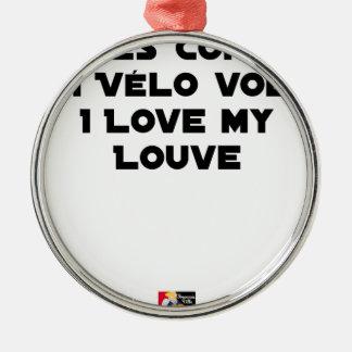 Ornement Rond Argenté Lové contre un Vélo Volé, I Love my Louve