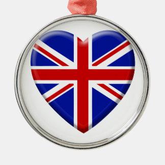 Ornement Rond Argenté love drapeau Royaume-uni Angleterre
