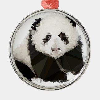 Ornement Rond Argenté Low Poly Panda