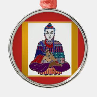 Ornement Rond Argenté LUMIÈRE d'AMOUR aimable de paix de bouddhisme de