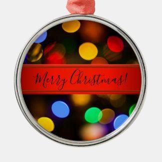 Ornement Rond Argenté Lumières de Noël multicolores. Ajoutez le texte ou