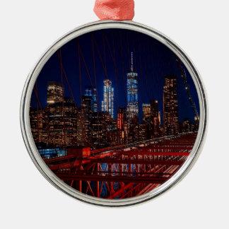 Ornement Rond Argenté Lumières de nuit de New York City de pont de