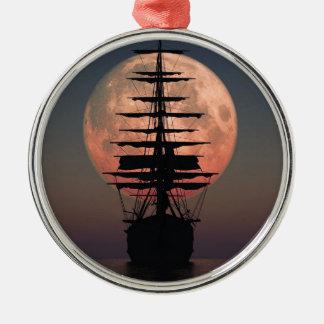 Ornement Rond Argenté Lune de pirate de navigation