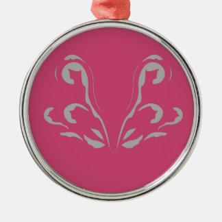 Ornement Rond Argenté Luxe gris rose d'ornements