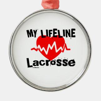 Ornement Rond Argenté Ma ligne de vie lacrosse folâtre des conceptions