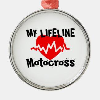 Ornement Rond Argenté Ma ligne de vie motocross folâtre des conceptions
