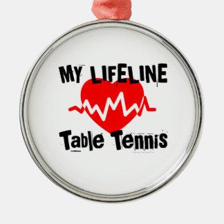 Ornement Rond Argenté Ma ligne de vie ping-pong folâtre des conceptions