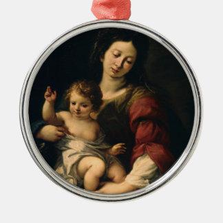 Ornement Rond Argenté Madonna et enfant