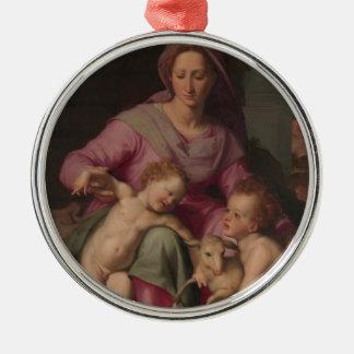 Ornement Rond Argenté Madonna et enfant avec St John le baptiste