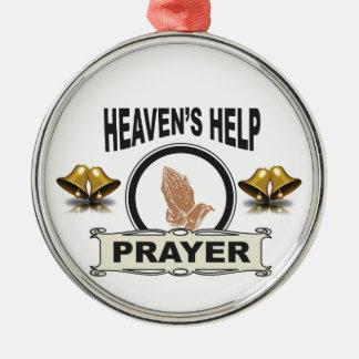 Ornement Rond Argenté mains d'aide et de prière