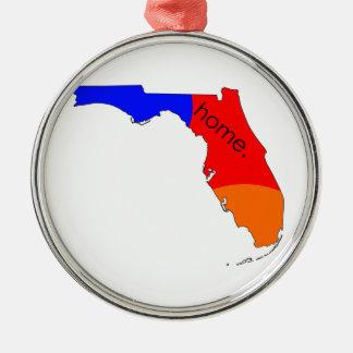 Ornement Rond Argenté Maison de la Floride
