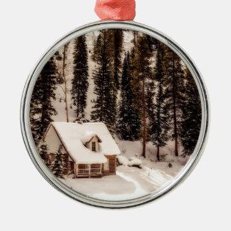 Ornement Rond Argenté Maison de Noël