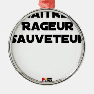 Ornement Rond Argenté Maître Rageur Sauveteur - Jeux de Mots
