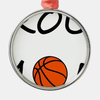 Ornement Rond Argenté Maman de basket-ball